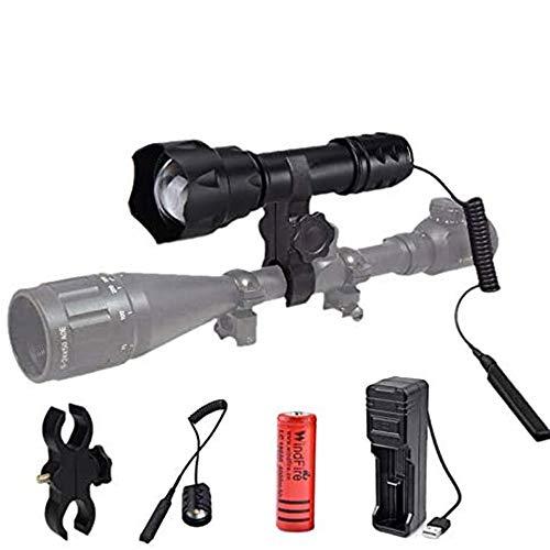 Linterna IR 840nm, Luz Infrarroja Linterna de Visión Nocturna Zoom con Interruptor de Presión, Batería y Cargador-Utilizado con Dispositivo de Visión Nocturna(Infrared light is invisible)