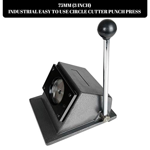 75MM (3 INCH) Round Punch Die Cutter Badge Button Making Machine - 75MM (3 INCH) Circle Cutter, Manual Graphic Punch Press Button Badge Maker. Paper Craft Cutter Tool.