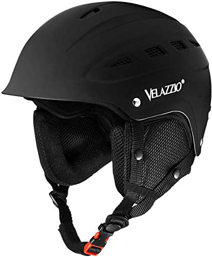 VELAZZIO Valiant Ski Helmet, Snowboard Helmet - Adjustable Venting, Goggles and Audio Compatible, Removable Liner and Ear Pads, Safety-Certified Snow Sports Helmet for Men, Women & Youth(Black - M)