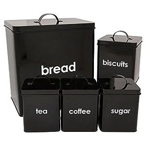 CostMad Lot de 5 boîtes de conservation pour le pain/les biscuits/le thé/le café/le sucre Idéal pour la cuisine