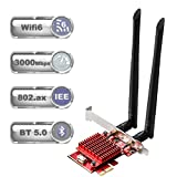 TEROW ROW083 WiFi 6 AX3000 PCIe WiFi Card for PC | Up to 3000Mbps | Bluetooth 5.0 | Heat Sink Tech | 802.11AX Dual Band Wireless Adapter with MU-MIMO,Ultra-Low Latency | Supports Windows 10 (64bit)