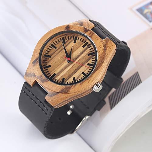 Somviersb Fashion Persönlichkeit Kleine rundes Zifferblatt aus Holz Shell-Uhr mit Leder Strapl Legierung Fall-Mode-Uhr-Quarz-Uhren mit Lederband 2019 Latest (Artikelnummer : Wa0225b)