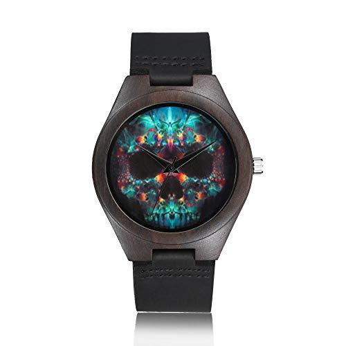 Armbanduhr,Einfache Holzkiste Für Männer Und Frauen Mode Lässig Schädel Quarzuhr, D