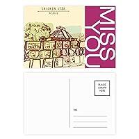 チチェンイツァメキシコ古代文明の描画 ポストカードセットサンクスカード郵送側20個ミス