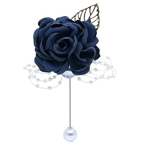 WE-WHLL Mujeres Niñas Boda Boutonniere Hecho a Mano Ramillete de Flores Rosas con Pin Decoración de Fiesta de graduación Perla de imitación con Cuentas Broche de Solapa-Azul Profundo