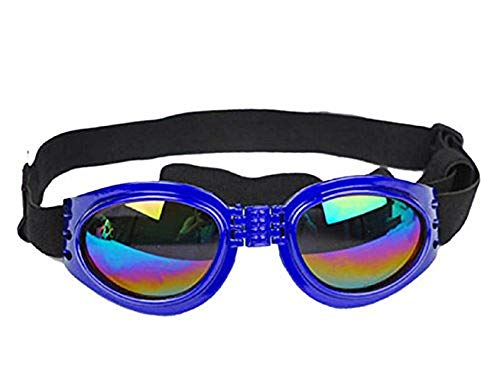 Blauw - zonnebril voor honden met verstelbare elastische opvouwbare uv400-bescherming