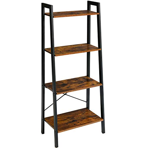 YMYNY Industrial Ladder Shelves, 4-Tier Bookshelf with Metal Frame and Wood Look, Standing Organizer Shelf for Bathroom, Living Room Office, Rustic Brown UTMJ014H