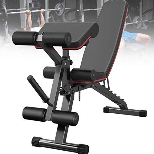 SFSGH Faltbare Fitness-Hantelbank, Hantelbank mit Beinstrecker und Beinbeugung, 7-Fach verstellbare Rückenlehne, maximale Belastung 300 kg für das Heim-Fitnessstudio, Ganzkörpertraining