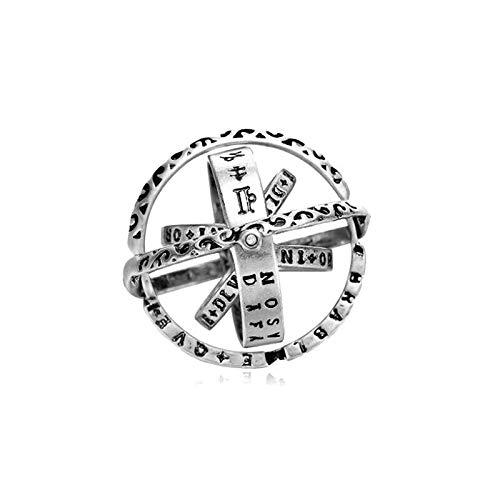 Anillo de bola astronómico de cobre, anillo creativo de bola Retro alemana, anillo de deformación de giro, anillo de pareja, anillo A