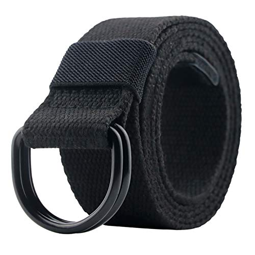 maikun Canvas-Gürtel für Herren und Damen mit schwarzem D-Ring 1 1/2
