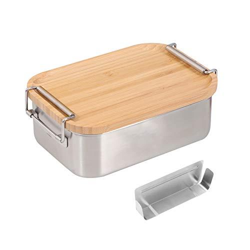 Fiambrera de acero inoxidable con compartimentos, fiambrera con tapa de bambú, para niños y adultos, 800 ml, estilo 2