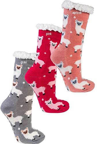 """socksPur DAMEN Hütten-Socken """"Lama"""", ABS 1 PAAR (one size, pink)"""