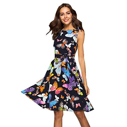 ZODOF vestidos mujer Mariposa Impresión Sin mangas Moda Vestidos largos casual elegantes sexy vestidos de fiesta ropa de mujer verano 2019 vestidos de fiesta cortos(XL,Negro)
