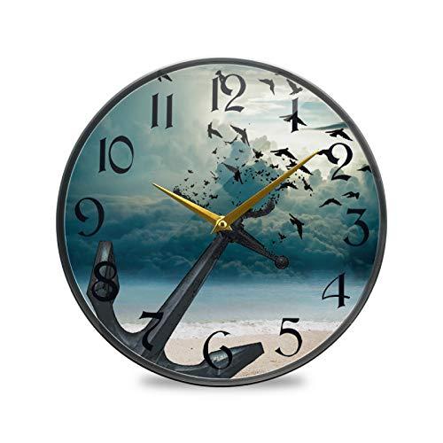 ART VVIES Reloj de Pared Redondo de 9,5 Pulgadas Que no Hace tictac silencioso Funciona con Pilas Oficina Cocina Dormitorio decoración del hogar-Ancla