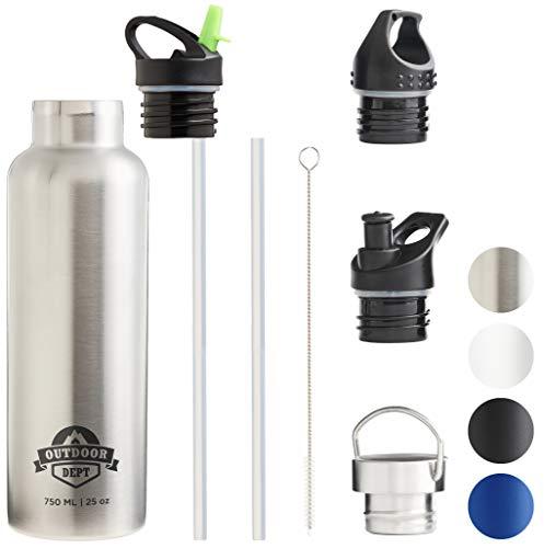 OUTDOOR DEPT Isolierte Edelstahl Trinkflasche 750 ML 4 Deckel BPA frei für Kohlensäure. Die Trinkflasche isoliert warme und kalte Getränke. Auch geeignet als Outdoor Sport Trinkflasche bzw - Silber
