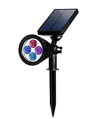 MOKOQI Solar Security Wall/In-ground Lights Auto-sensing Outdoor Adjustable Spotlight with Removable Ground Spike For Garden Decor Christmas Landscape Yard Driveway(Changing Color)
