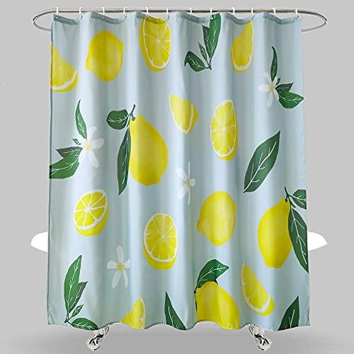 Dolii Duschvorhang, Zitronengelb, Obst, Duschvorhang, grüne Blätter, Pflanzendesign, wasserdichter Stoff, Badezimmer-Duschvorhang-Set mit 12 Haken, grün-gelb, 183 x 183 cm