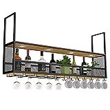 WEIB-botellero Metal Negro para Colgar en La Pared, Vino, Copa de ChampáN, Copas, Soporte para Copas, Estante para Vino Vintage para Cocina, Bar, Pub, Restaurantes