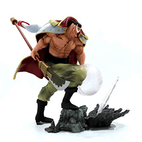 JINFENFG One Piece Fighting White Beard Shocking Fruit Edward Efectos Especiales Newgate Papa Doll Modelo en Caja Decoraciones de Paisaje Juguetes