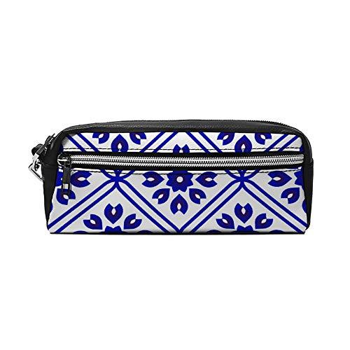 Blauwe en witte keramische tegel patroon PU lederen potlood case make-up tas cosmetische tas potlood zak met rits reizen toilettas voor vrouwen meisjes
