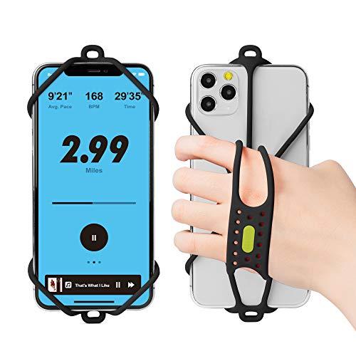 Bone Sport Handyhalter Griff für Jogger, Universal Handyhalterung Joggen, Elastisch Handyfingerhatler für iPhone 12 Pro Max Mini 11 X XR XS Samsung Huawei, Inkl Extra Handschlaufe - Schwarz