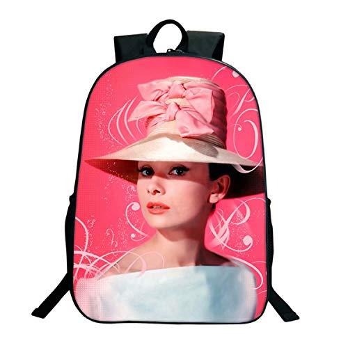 Audrey Hepburn Mochila 3D impresa foto bolsa diaria para mujeres mochila escolar para estudiantes niñas