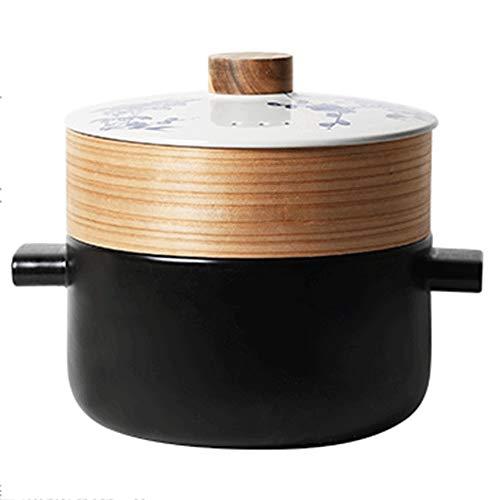 Casserole Cascading Blanc Creative Céramique Casserole Cocotte Ménage double couche à vapeur ouverte flamme à haute température résistant à soupe Pot (Color : Noir, Size : 4.5L)