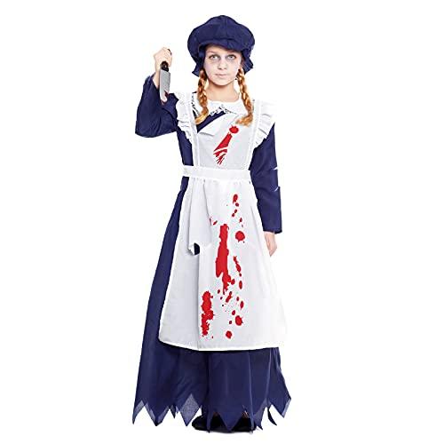 Disfraz Fantasma Niña Doncella Criada【Talla Infantil 3 a 12 años】[Talla 5-6 años]【Vestido Fantasma Época】 Disfraces Halloween Niña Cosplay