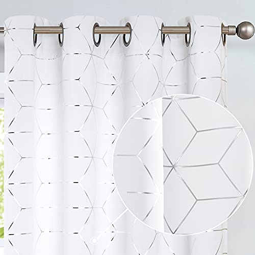 Vangao White Curtains for Living Room Thermal Insulated Window Drapes Room Curtains for Bedroom Foil Print Geometric Pattern Curtains 84 Inch Length, White, 2 Panels