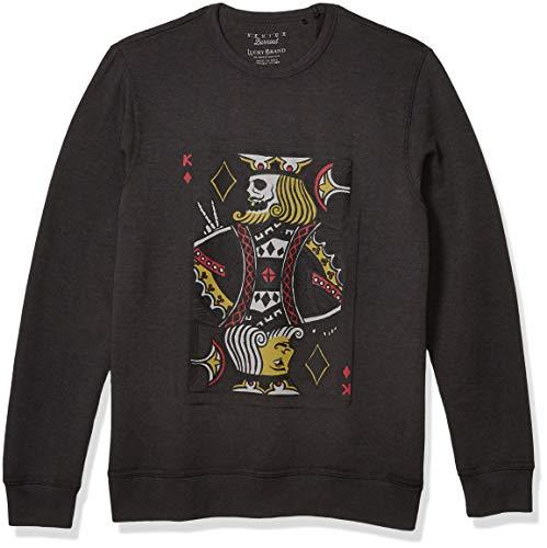 Lucky Brand Men's King Card Crew Neck Pullover Sweatshirt, Jet Black Burnout, XL