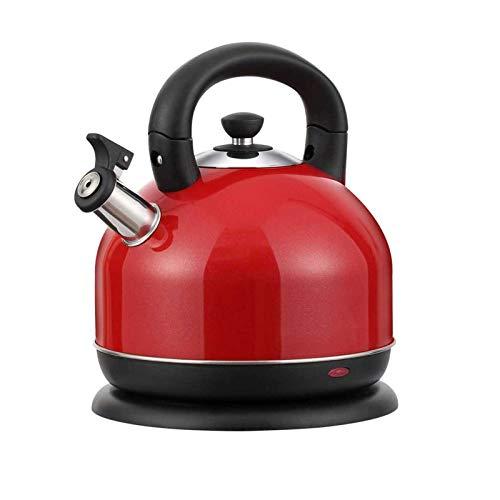 Haoran 3LHervidores De Acero Inoxidable,Hervidor De Agua Eléctrico,2200W Calentamiento Rápido,Apagado Automático,Libre De BPA,para Cocina,Comedor,Rojo