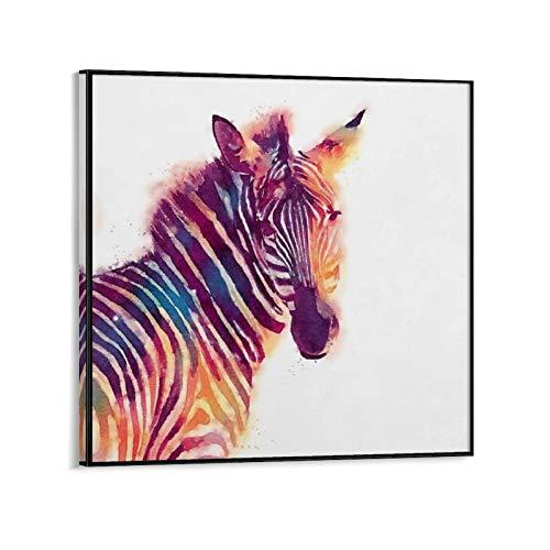 SDFASF Póster de cebra por artista independiente por Jacqueline Maldonado - Lienzo decorativo para pared de sala de estar, 40 x 40 cm