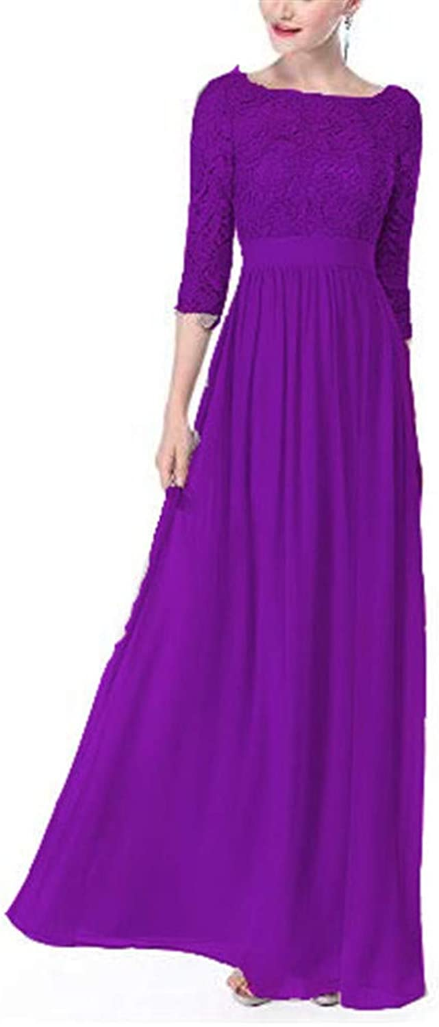 Emmani Women's 3 4 Sleeve Lace Long Evening Dresses Homecoming Prom Wedding Dress