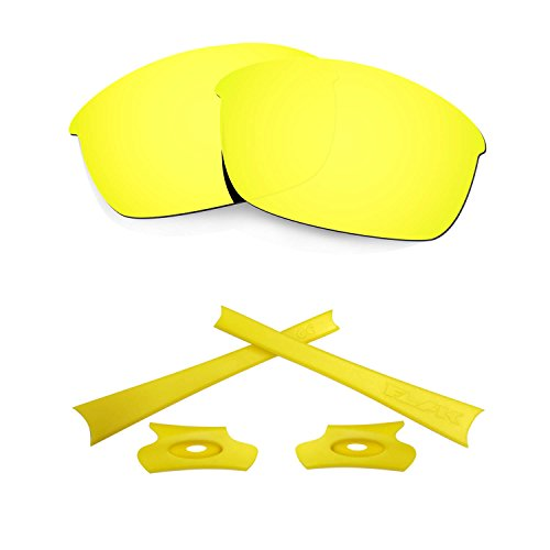 HKUCO For Oakley Flak Jacket 24K Gold Polarized Replacement Lenses And Yellow Earsocks Rubber Kit