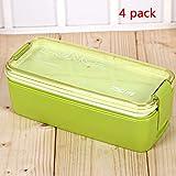 Almuerzo Bento Box Kids PP Plástico Dividido Doble Capa Sello Ecológico Portátil Con Tapa A Prueba De Fugas Versátil Sin BPA Materiales Seguros Para Alimentos,Green,1 pack