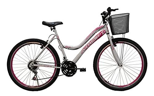 Bicicleta Aro 26 Mtb 18 Marchas Musa Feminina Com Cestão Branca/Rosa