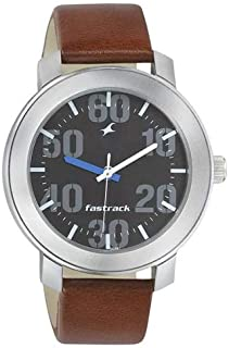 Fastrack Men's Black Dial Leather Band Watch - 3121SL01
