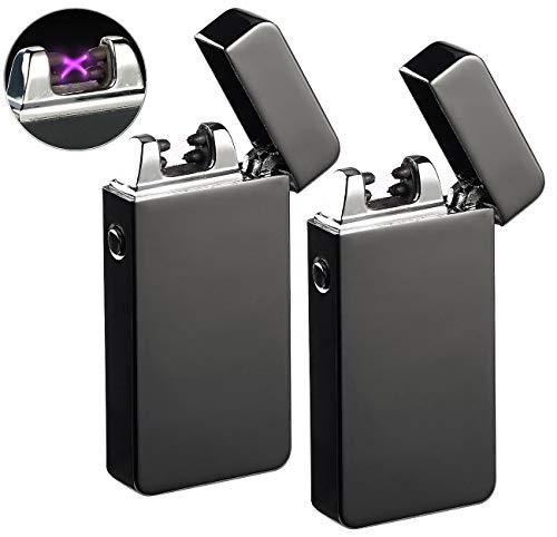 PEARL Sturmfeuerzeug: 2er-Set elektronische Feuerzeuge mit doppeltem Lichtbogen, USB (Arc-Feuerzeug)