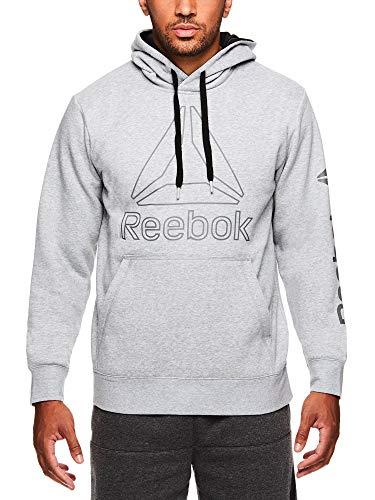 Reebok Men's Performance Pullover Hoodie - Graphic Hooded Activewear Sweatshirt - Grey Box Jump, Small