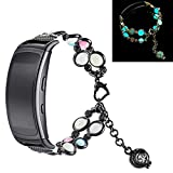 Yimiky Armband für Watch Gear Fit2 Pro, Fashion Handmade Faux Pearl Naturstein Nacht Leuchtend Uhrenarmband Armband Strap Kompatibel für Samsung Gear Fit2 Pro (Schwarz)