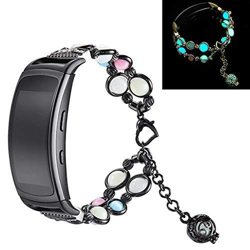Yimiky Armband für Watch Gear Fit2 Pro, Fashion Handmade Faux Pearl Naturstein Nacht Leuchtend Uhrenarmband Armband Strap Kompatibel für Samsung Gear Fit2 Pro (Schwarz)