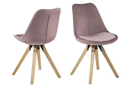 Eine Marke von Amazon - Movian Arendsee - Set aus 2 Esszimmerstühlen, 55 x 48,5 x 85cm, Blassrosa Stoff, eichenfarben gebeizte, ölbehandelte Beine aus Kautschukholz
