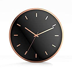 Driini Modern Rose Gold Analog Wall Clock - Decorative Aluminum Frame with Black Face (12) – Battery Operated with Silent Movement – Contemporary Decor for Office, Living Room, Kitchen or Bathroom.