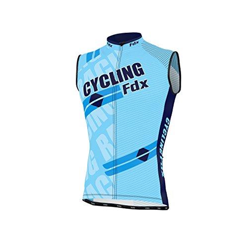 FDX Herren Ärmelloses Trikot, atmunsaktiv, Team Racing Radfahren Top Größe L himmelblau