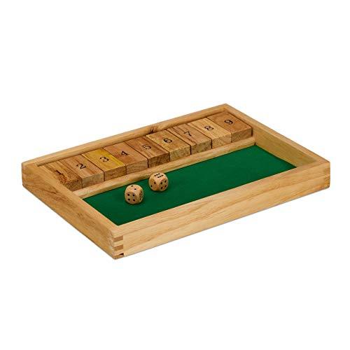 Relaxdays 10023500 Shut The Box 9er, 2 Holzwürfel & Würfelbrett, für mind. 2 Spieler, klassisches Familienspiel, Holz, natur/grün