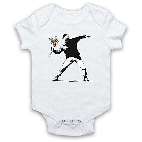 My Icon Art & Clothing - Body para bebé de Bansky, con grafiti de arte callejero de hombre lanzando un ramo de flores blanco 3-6 Meses