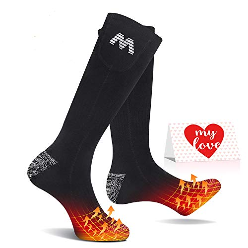 Jomst 5000mAh Heated Socks for Men Women Rechargeable Electric Socks Up to 25 Hours Heating 3 Heat Setting for Sport Outdoor Fishing Skiing (Black)