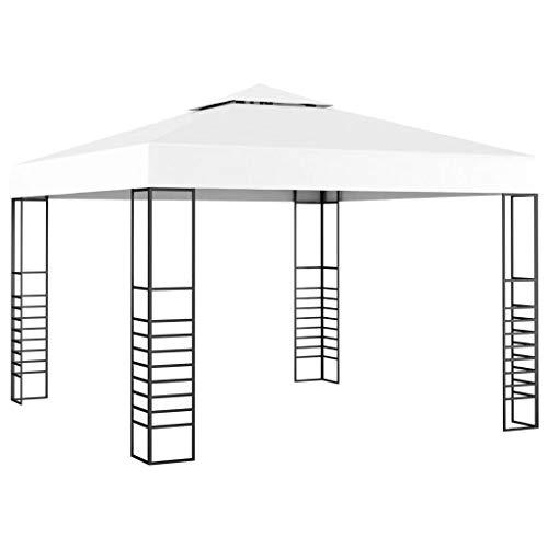 vidaXL Carpa Cenador de Jardín Cenador de Patio Tienda Terraza Cubierta de Sombrilla Parasol de Reunión Familiar Fiesta Blanco 3x4 m