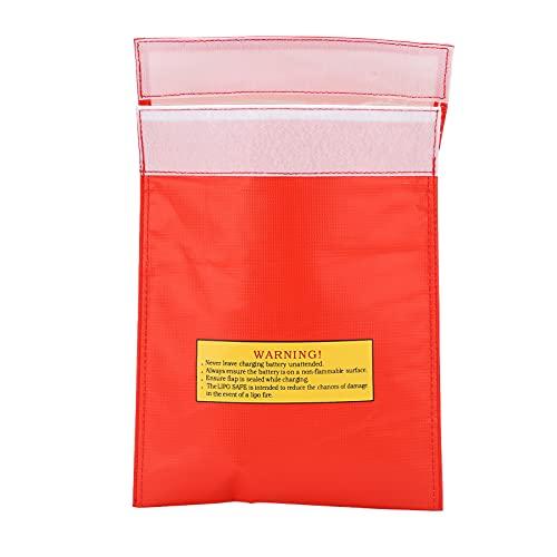 RiToEasysports Bolsa De Seguridad para Batería Bolsa De Protección Segura De Lipo De Fibra Ignífuga Ignífuga Resistente Al Fuego para Varias Baterías De Aviones(Rojo)