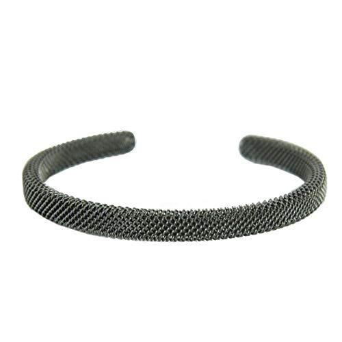 Color negro y rodio tono brazalete de malla de acero inoxidable JCSM020S
